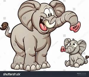 Big Small Cartoon Elephants Vector Clip Stock Vector ...