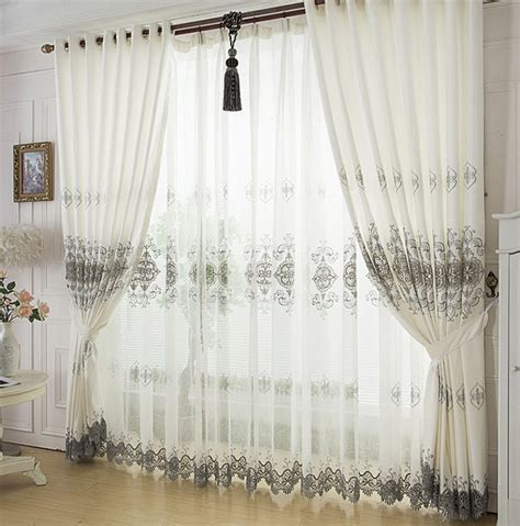 attractive white high end living room curtains