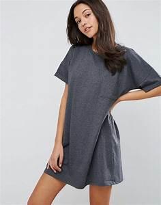 Asos asos casual oversize t shirt dress with pocket at asos for Robe tee shirt oversize