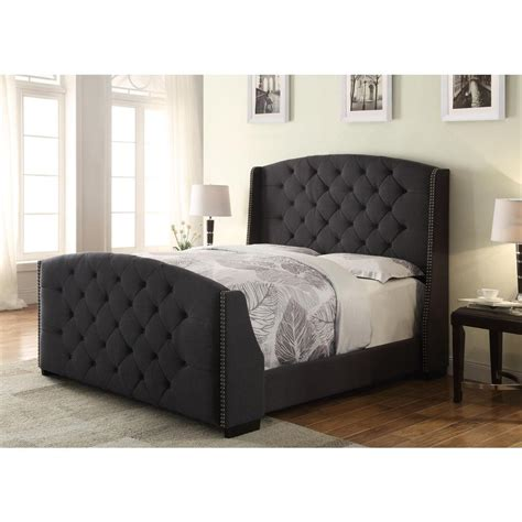 astounding brown tufted leather sleigh bed design with
