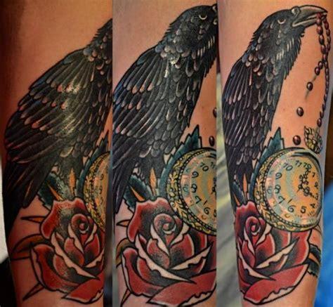 clock flower crow tattoo  upstream tattoo