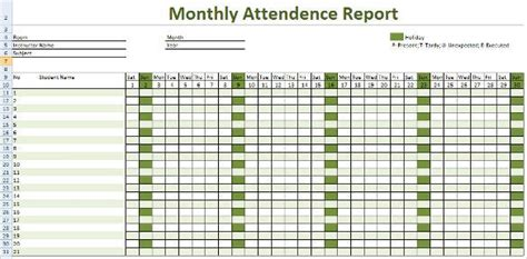 attendance tracking template   word excel