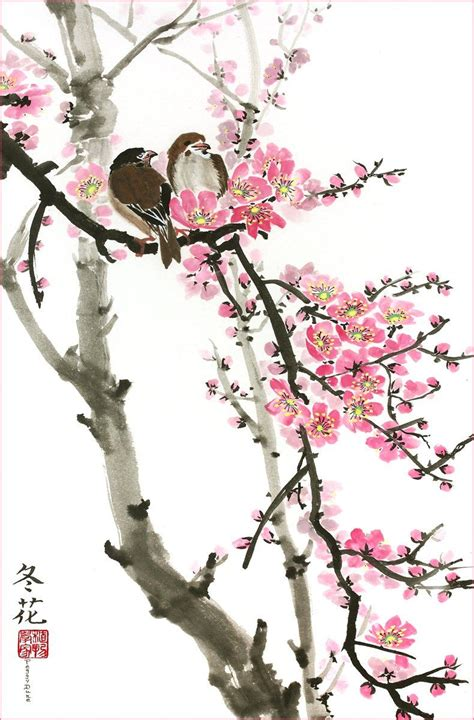 Amazon com: Love Birds on the Cherry Blossom Tree White