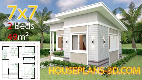 Small House Design 7x7 with 2 Bedrooms Full PlansThe House