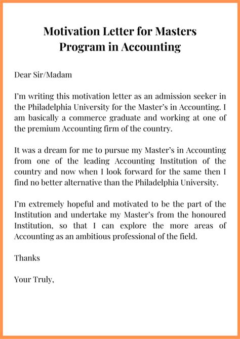However, you may require it sometimes while significance of letter of motivation in admission and scholarship application process: Sample Motivation Letter for Master's in Accounting | Top Letter Template