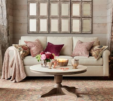 Pottery Barn Loveseat by Cameron Roll Arm Upholstered Sofa Pottery Barn