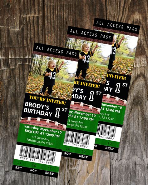 football ticket birthday invitation template instant