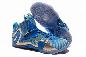Latest Nike Lebron James 11 Shoes Elite Blue Gold With ...