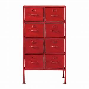 Cabinet de rangement indus en metal rouge l 52 cm for Cabinet maison du monde