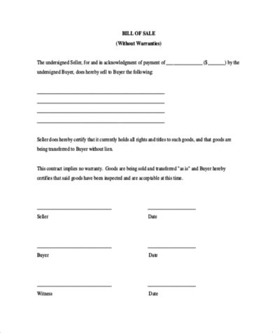 sample  car bill  sale forms   ms word
