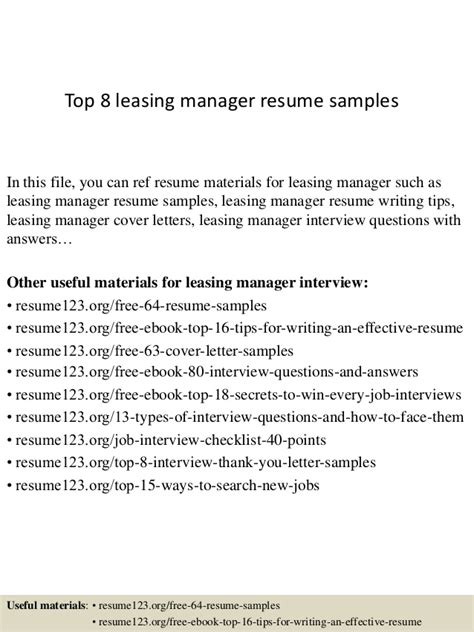 Leasing Manager Resume Agent Temp Position Samples