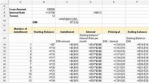 Car Loan Amortization Chart Emi Calculator For Home Loan Excel Cooking With The Pros