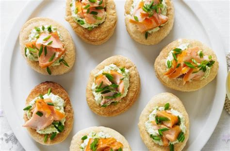 easy no cook canapes smoked salmon and pea vol au vents recipe goodtoknow