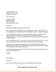 Personal Business Letter Format Template