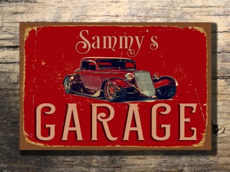 Custom Garage Sign by Personalized Garage Sign Rod Signs Classic Metal Signs