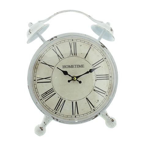 shabby chic alarm clock shabby chic white mantel clock country farmhouse oversized clock antique white distressed finish