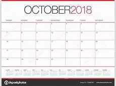 2018年10月计划者日历向量例证 — 图库矢量图像© dolphfynlow #174848780