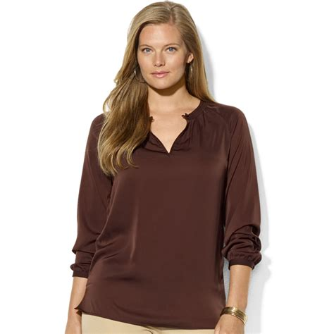 plus size silk blouses by ralph plus size sleeve satin blouse