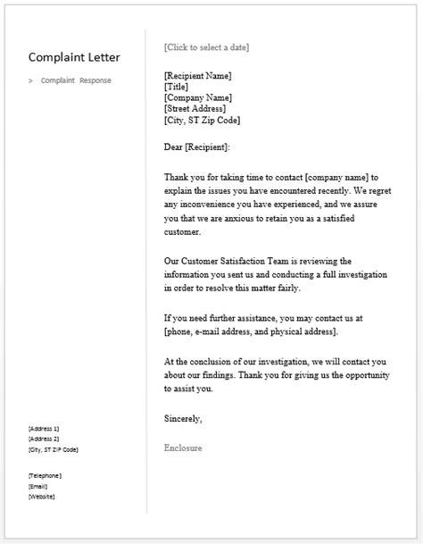 sample complaint response letter  sample letters