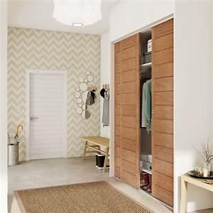 Porte de placard coulissante effet chene naturel spaceo l for Porte d entrée pvc avec colonne salle de bain 60