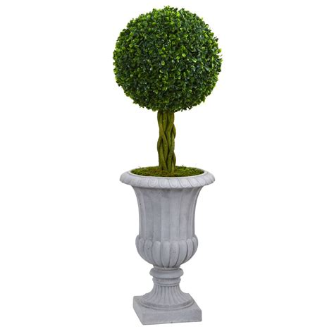 boxwood topiary trees 3 braided boxwood topiary artificial tree in gray urn uv 1773