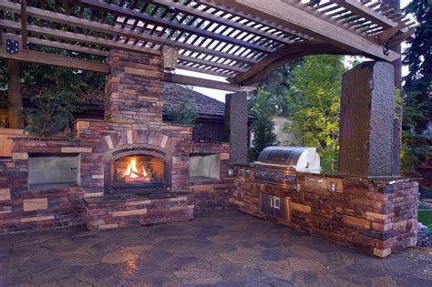outdoor kitchen and fireplace designs pergola and patio cover mead wa photo gallery 7229