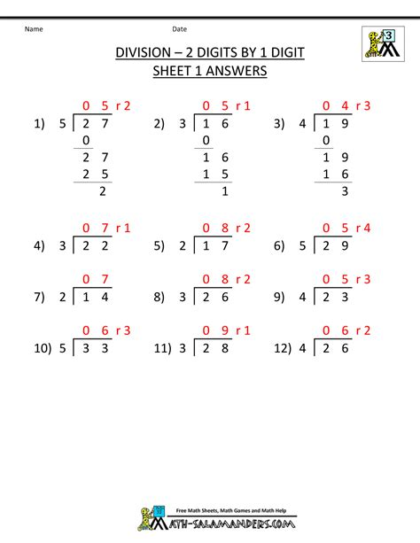 single digits division math worksheet division worksheets 3rd grade