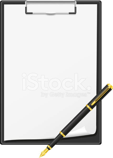 clipboard and pen clipart clipboard blank sheet of paper and pen vector illustration
