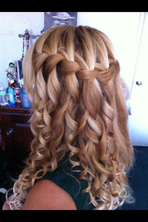 Quinceanera Hairstyles With Curls by Waterfall Braid And Curls Quinceanera Hairstyles