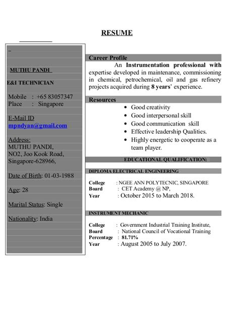 Resume For Senior Instrument Technician by Pandi Resume Instrument Technician