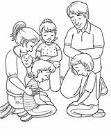Praying Coloring Prayer Lds Children Pray Line Primary Kneeling Father Four Mother sketch template