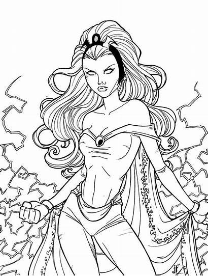 Coloring Pages Storm Superhero Adult Printable Jamiefayx