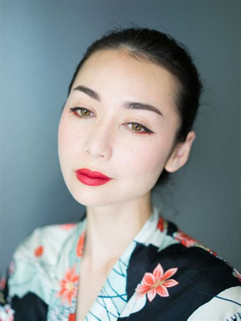 red lips  winged liner asian style emilylokecom