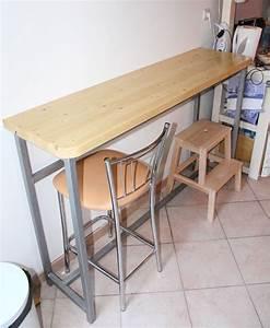 Creation d39une table bar cuisine batir sa maison a for Table de cuisine etroite