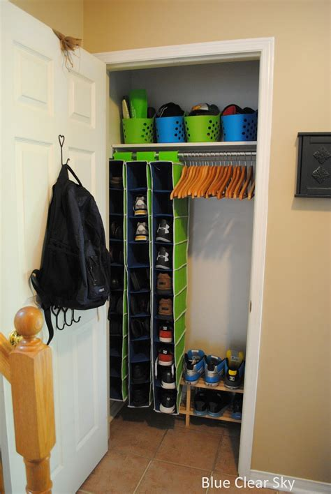 rustic maple organizing our front closet