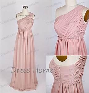 Blush Pink Bridesmaid Dress - One-shoulder Bridesmaid ...