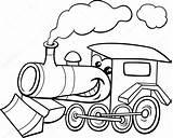 Steam Engine Coloring Cartoon Motor Vector Train Kolorowanka Kolorowanki Lokomotywa Kleurplaat Clipart Kleuren Parowy Silnik Stoom Spotprent Locomotive Transport Character sketch template