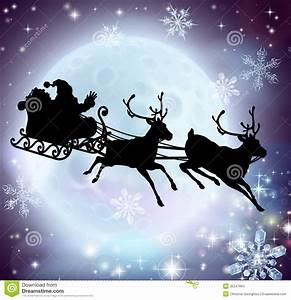 Santa Flying His Sleigh Silhouette Pictures to Pin on ...