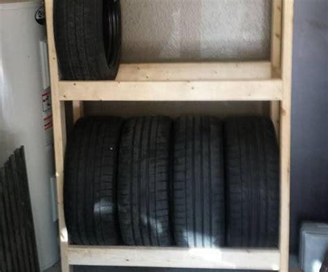diy budget tire rack  shelves   garage  steps