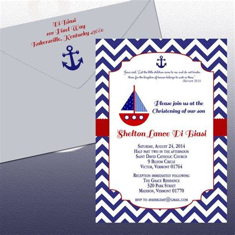 Diy Nautical Theme Christening Invitation Sail Boat And