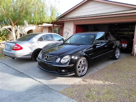 """Fs amg wheels 19 inch chrome 81/2 19's h2et45 they came off a 129 chassis car with spacers. 2004 Mercedes-Benz W211 E55 AMG on 19"""" Chrome Wheels   BENZTUNING"""