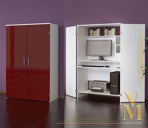 Hideaway Desk Cupboard computer cupboard cabinet hideaway desk in white