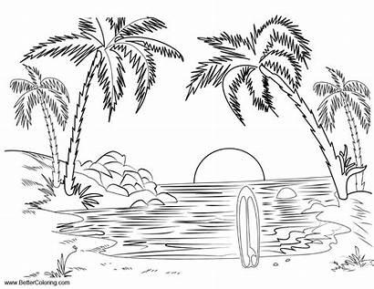 Coloring Pages Summer Landscape Fun Printable Beach