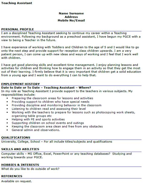 Personal Profile Exles For Teaching Resume by Teaching Assistant Cv Exle Icover Org Uk