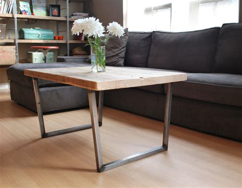 wood coffee table with metal legs wood coffee table with square steel legs made of by