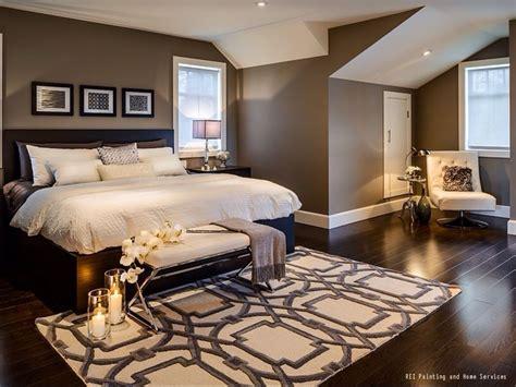 warm  cozy bedroom  dark hardwood floors