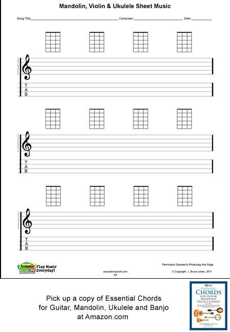 Printable Blank Ukulele Sheet Music