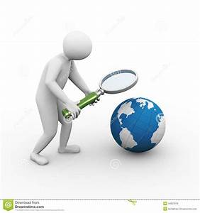 3d Man Magnifier Globe Searching Stock Illustration ...