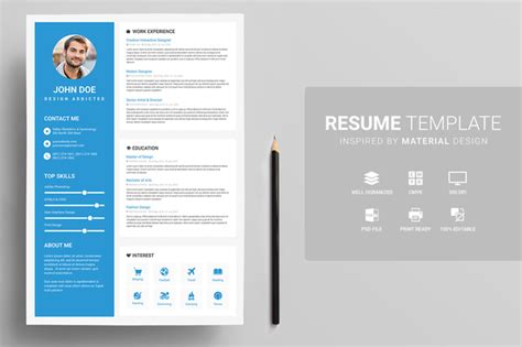material design resume templates   perfect