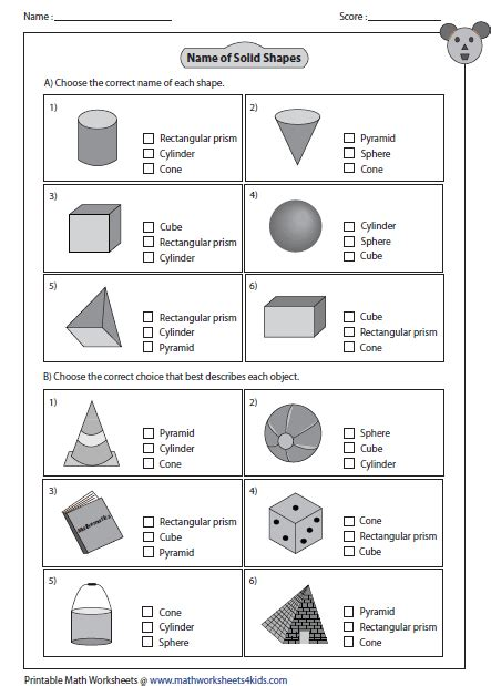 multiple choice questions math pk 1 shapes worksheets